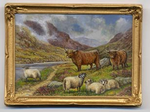 Miniature painting 0178 Highland scene with Cattle and Sheep