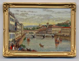 miniature painting 0180 Italian River Townscape