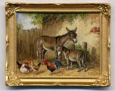 Miniature Painting 0206 Farmyard Scene with 2 Donkeys and Chickens