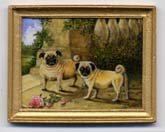 Miniature painting 0209 A Pair of Pugs