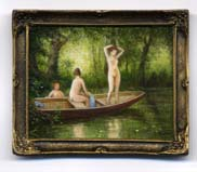 Miniature painting 0233 Young Women Bathing off a Boat on a Lake