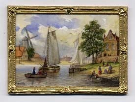 Miniature painting 0237 Flemish Scene with Sail Boats & a Windmill