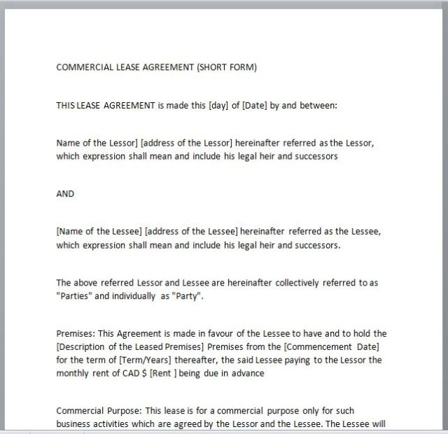 Commercial Lease Agreement Template 02