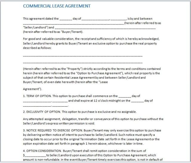 Commercial Lease Agreement Template 05