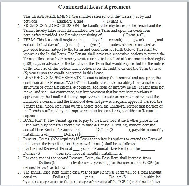 Commercial Lease Agreement Template 07