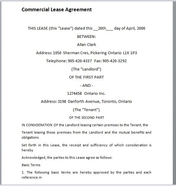 Commercial Lease Agreement Template 18