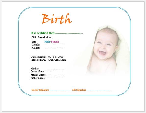 Birth Certificate Template 11