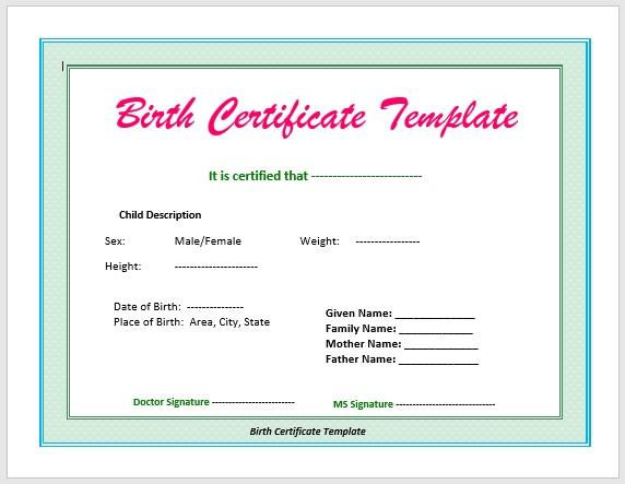 Birth Certificate Template 12