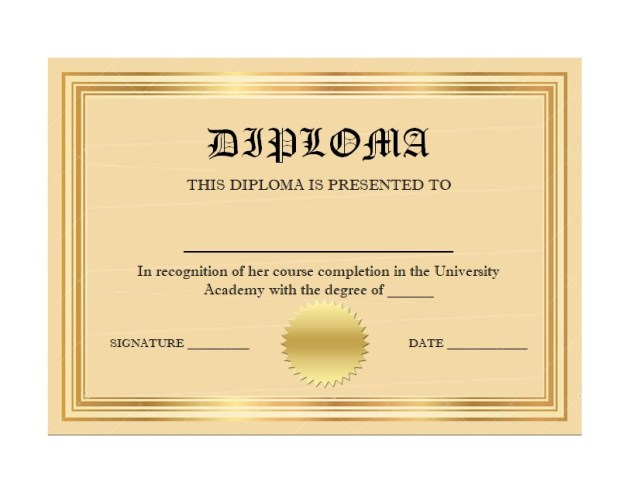 Diploma Certificate Template 06