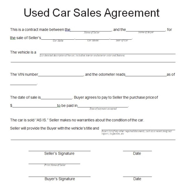 Vehicle Purchase Agreement Template 24