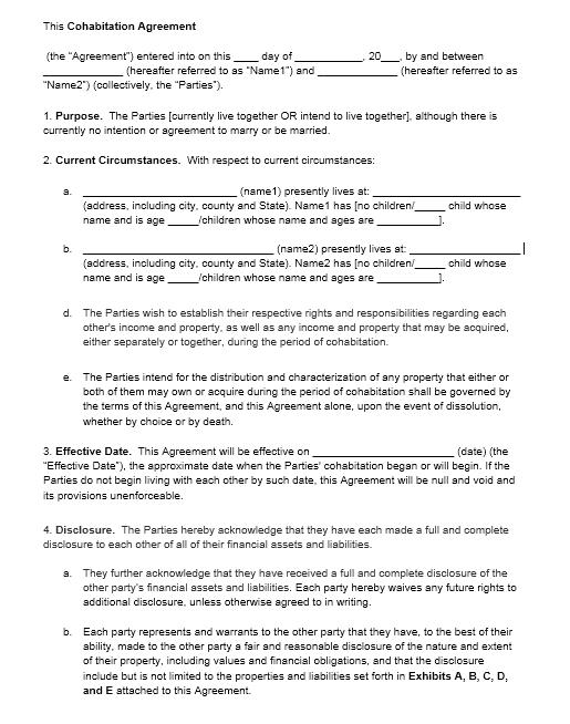 cohabitation agreement template 13.