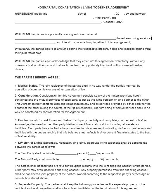 cohabitation agreement template 20..