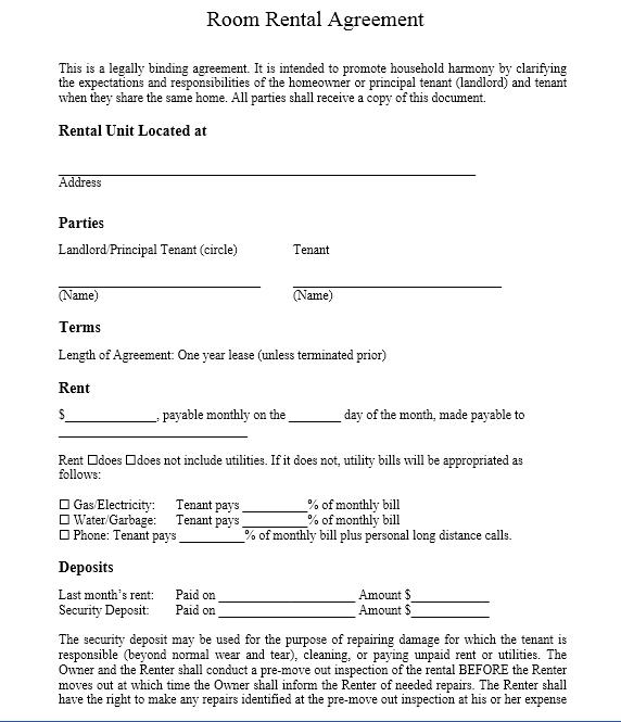 room rental agreement template 03