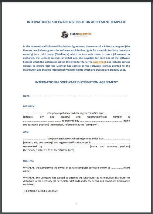 Distribution agreement template 02..