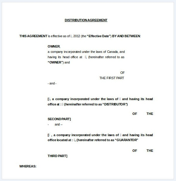 Distribution agreement template 11..
