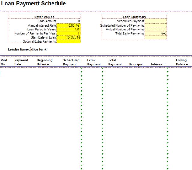 Loan Amortization Schedule Template 12