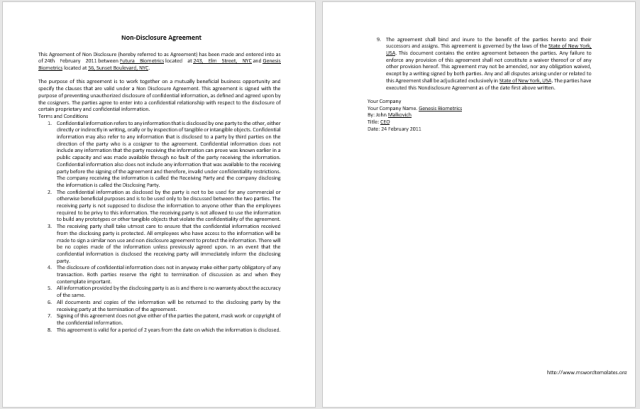 Non Disclosure Agreement Template 11
