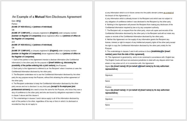 Non Disclosure Agreement Template 13