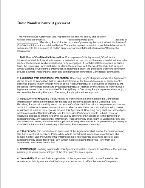Non Disclosure Agreement Template 15