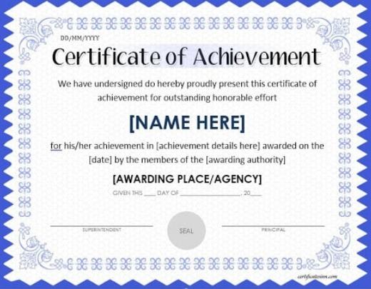 certificate of achievement template 01.