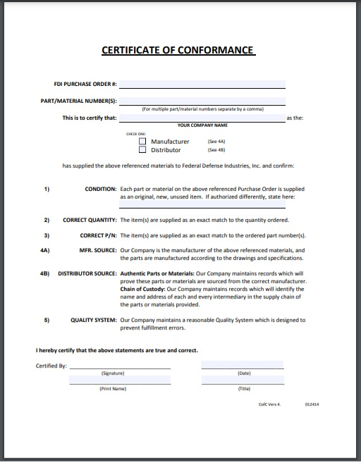 certificate of conformity Template 07