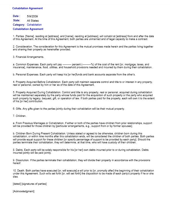 cohabitation agreement template 03.