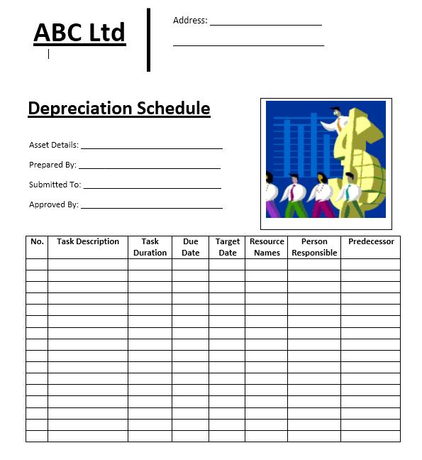 depreciation schedule template 15