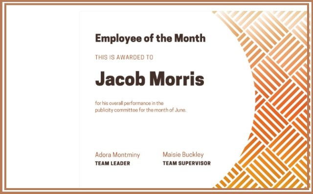 employee of month certificate template 03
