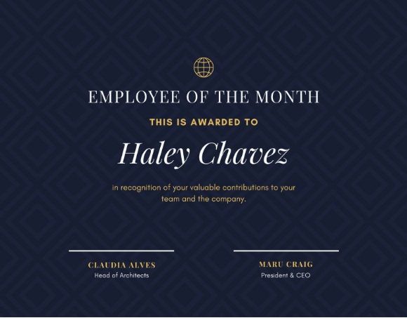 employee of month certificate template 06