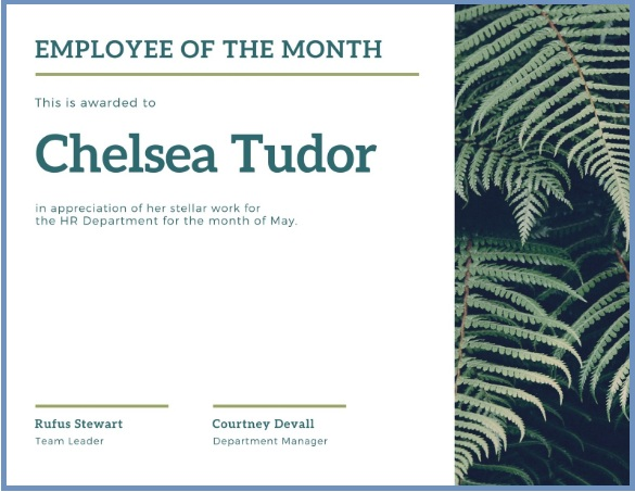 employee of month certificate template 07