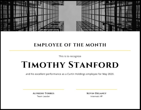 employee of month certificate template 09