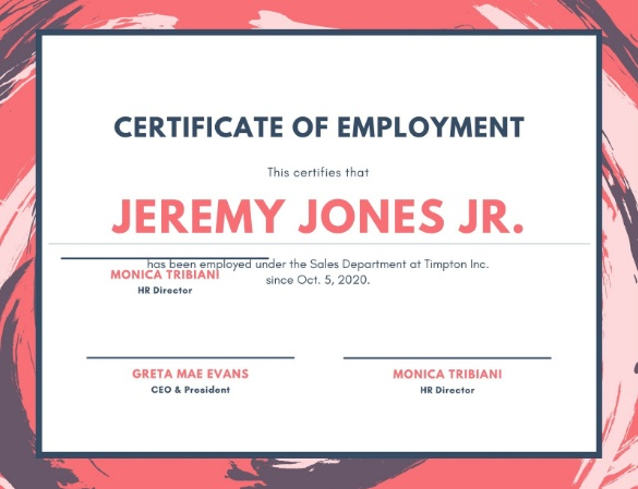 employee of month certificate template 13