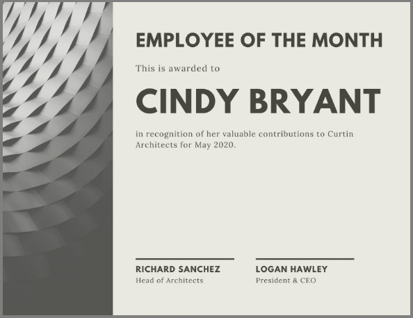 employee of month certificate template 14