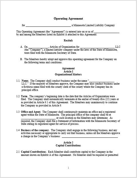 llc operating agreement template 02