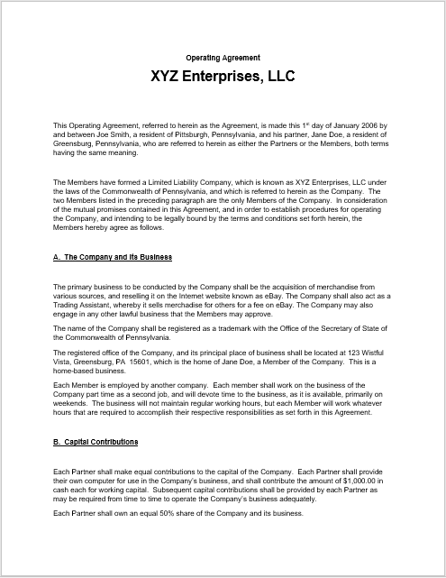 llc operating agreement template 15