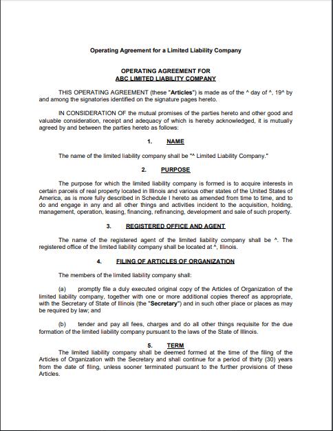 llc operating agreement template 22