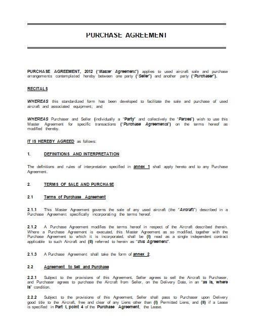 purchase agreement template 11