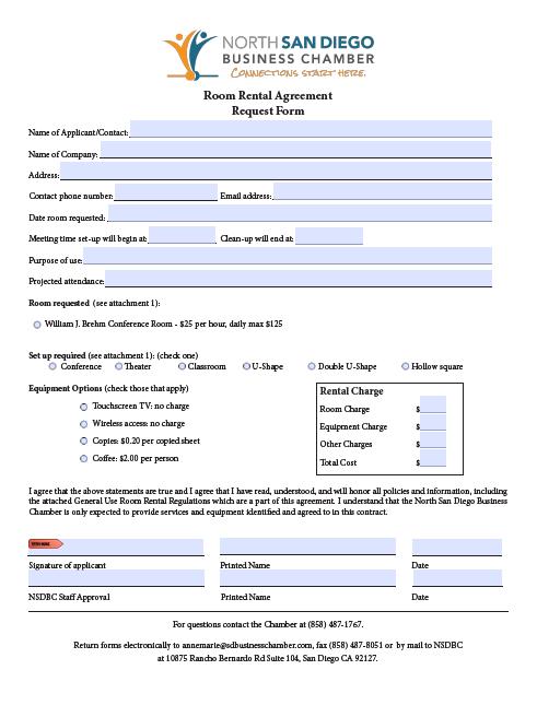 room rental agreement template 12