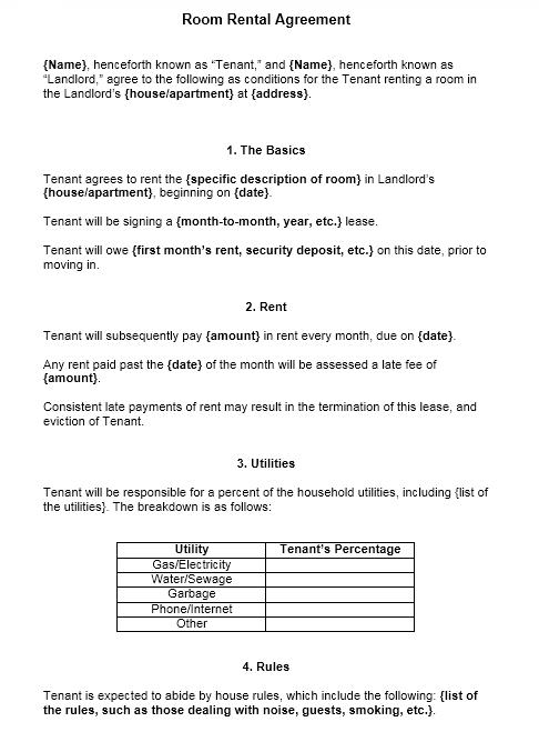 room rental agreement template 14