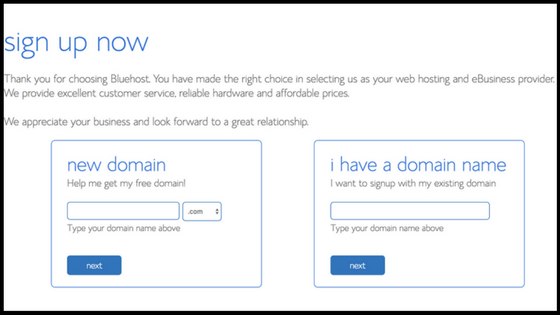 Get a free domain with bluehost