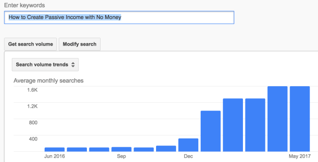 Using google keyword planner to find the search volume of a keyword
