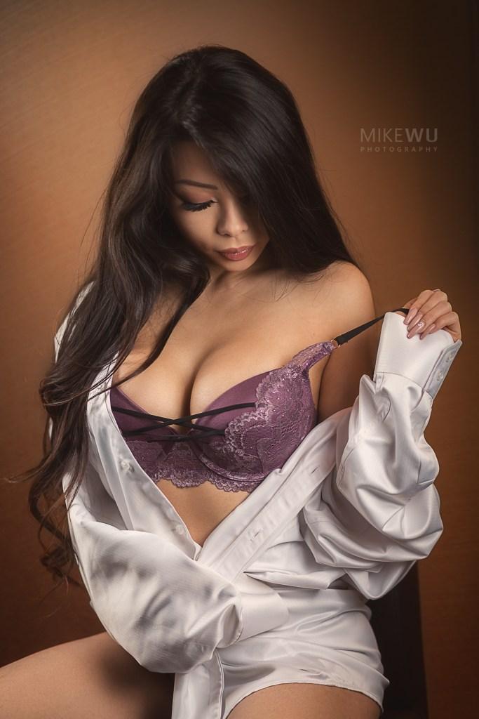 dress shirt, white, purple bra, wavy hair, studio, indoor, boudoir, sensual, portrait, vancouver