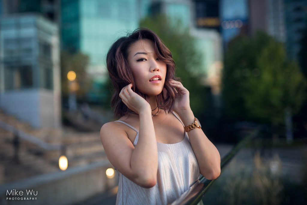hair, sunset, dusk, vancouver, downtown, convention centre, cactus club, asian, watch, bokeh, photo, portrait, night, lifestyle