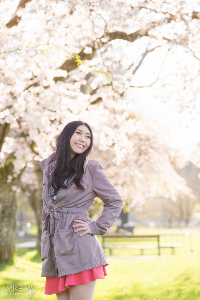 Cherry blossoms during spring in Vancouver. Model Yuri Takase
