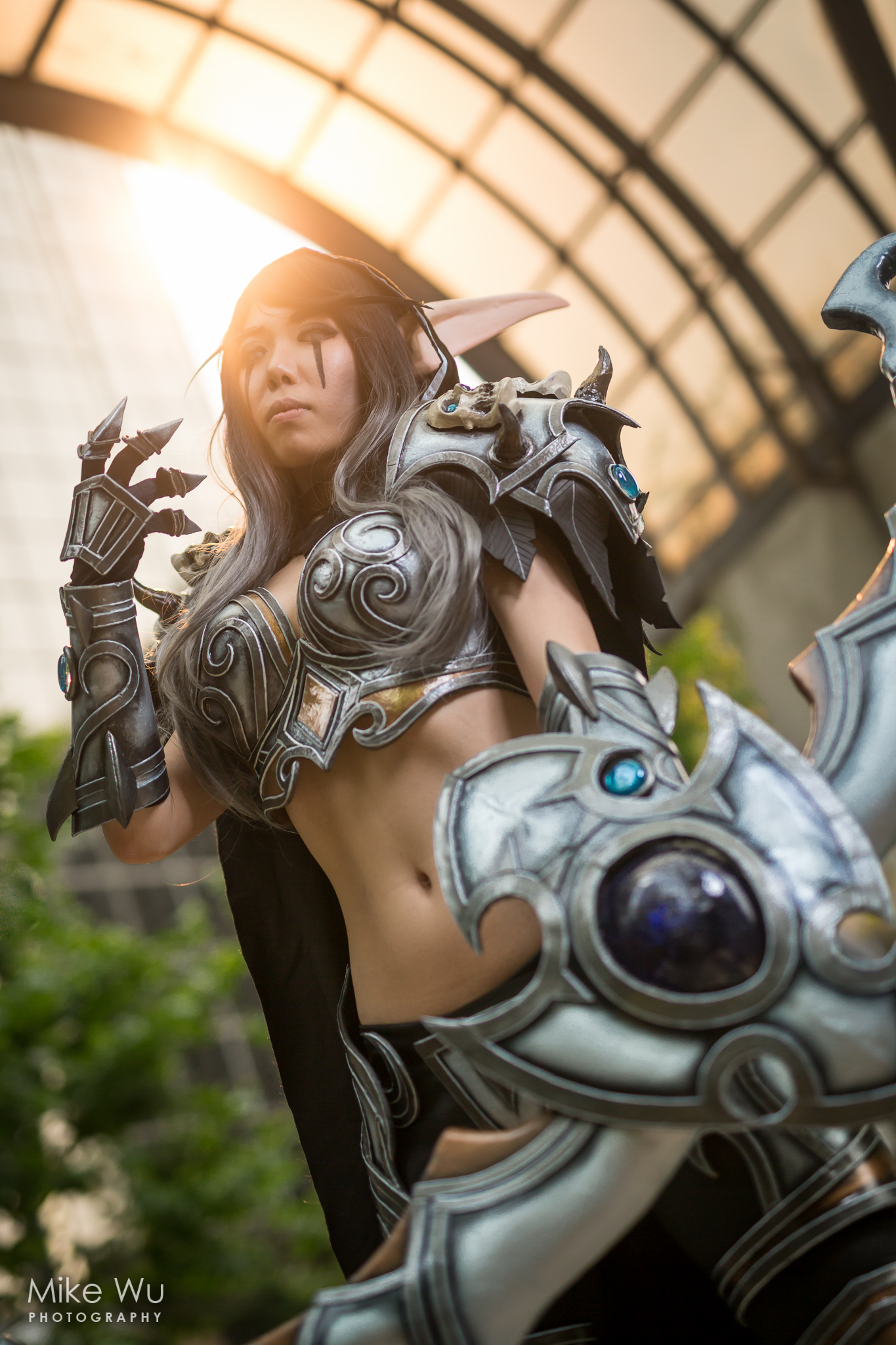 world of warcraft, elf, sylvanas, worbla, armour, archery, bow, night elf, vancouver, anime revolution, convention, arch, sunset