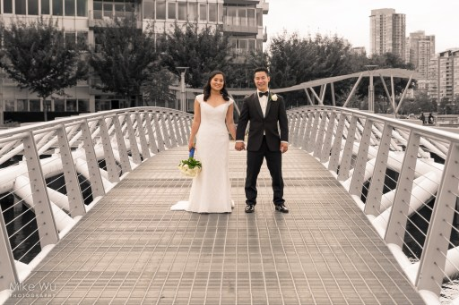 bridge, marriage, just married, wedding, vancouver, creekside, asian, bouquet, bride, groom, black and white, path, center