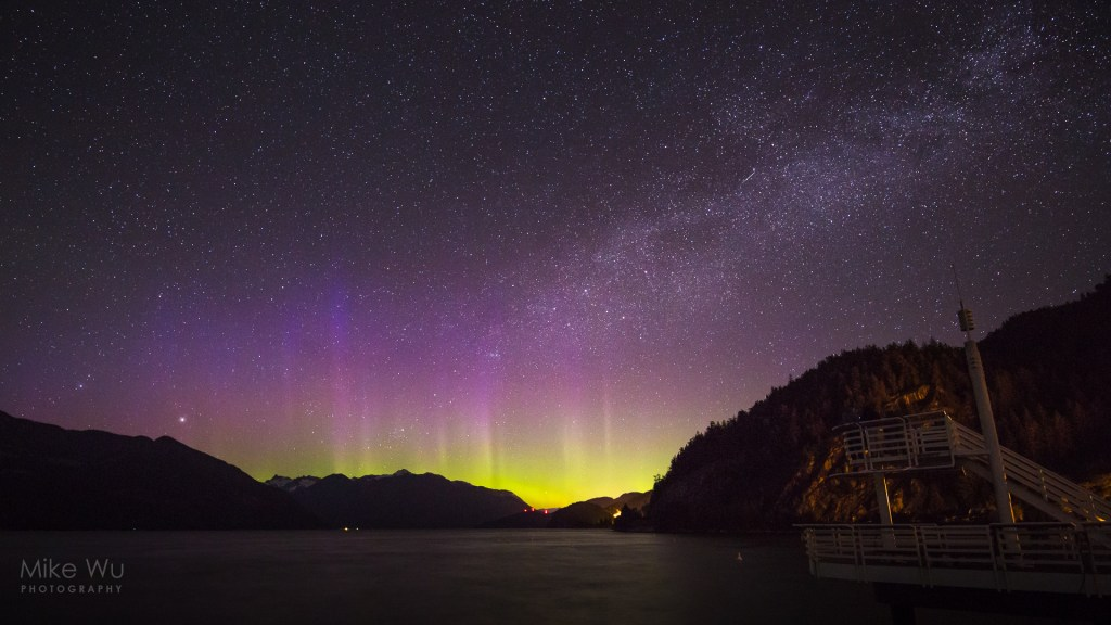 Mr Northern Lights, please meet Miss Milky Way. Taken at Porteau Cove, BC. Widescreen wallpaper