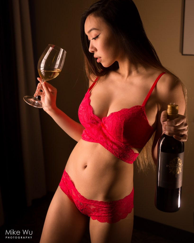 vancouver portrait photographer mike wu, wine, red, bra, panty, boudoir, intimate, indoors, studio, mood, asian, vancouver, intimate, sexy, lingerie