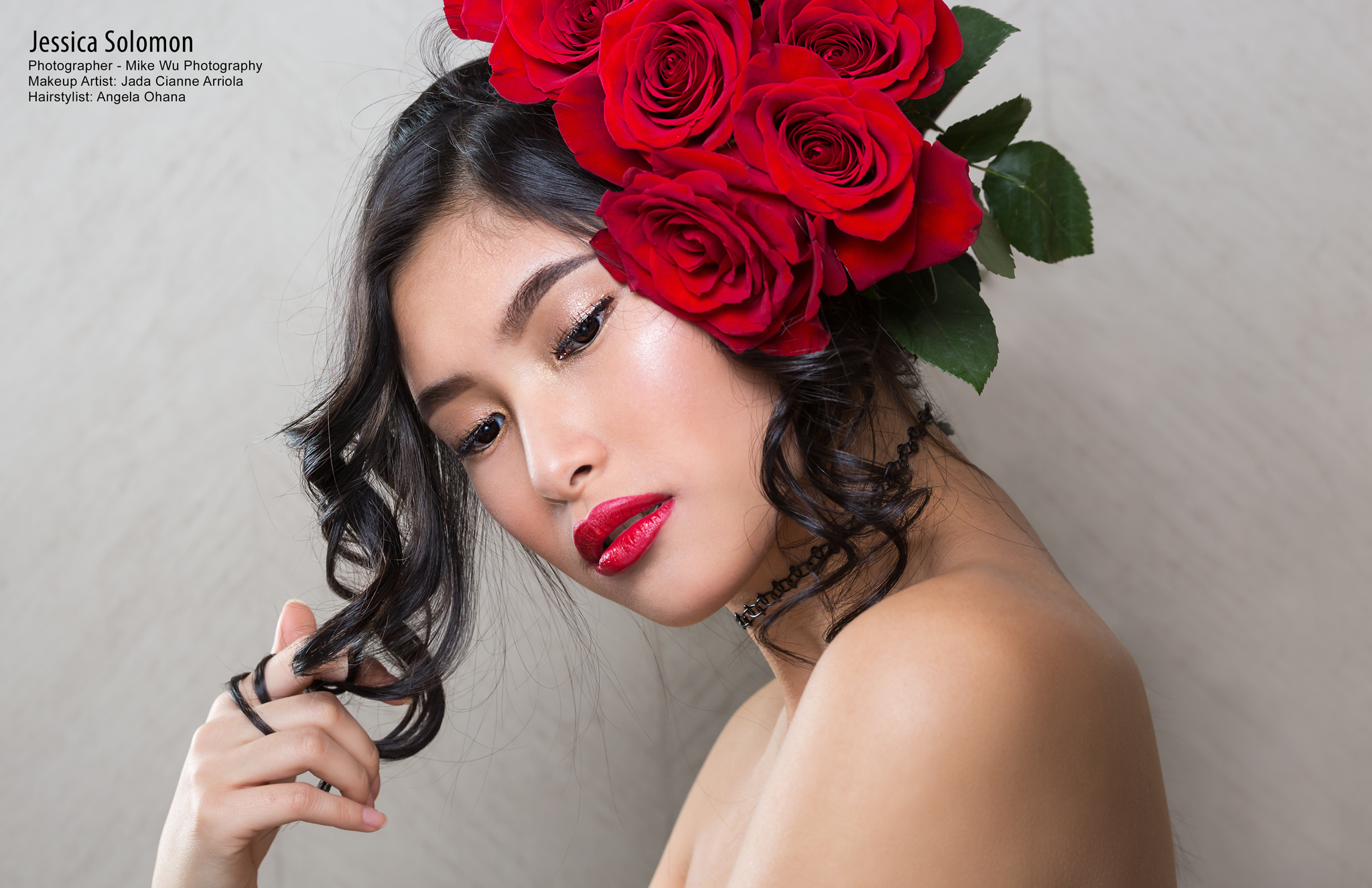 model, surreal beauty magazine, publication, flowers, bouquet, roses, beauty, curls