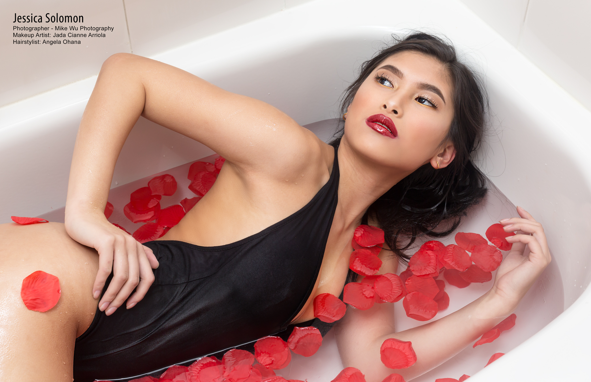 bathtub, rose petals, red, publication, surreal beauty magazine, swimsuit, sexy, editorial, beauty, makeup, hair, wet